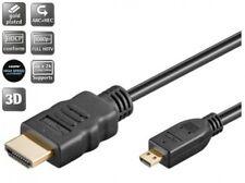 1m goobay hdmi™ kabel mit ethernet 19pol an micro d stecker schwarz vergoldet