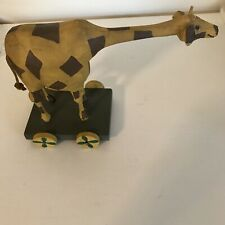 Vintage L. Koosed 1988 Folk Art Hand Carved Wood Giraffe on Stand with Wheels