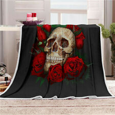 Skull Gothic Warm Soft Blanket Fleece Throw Rug Bed Sofa Couch Flannel 80x150cm
