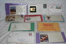 MR FANCY CANCEL WW II ENVELOPES, 24KT GOLD ANTIGUA STAMP & DIXIELAND CAFE TICKET