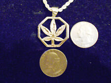bling silver plated casino marijuana charm rope chain hip hop necklace jewelry