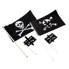 "12 Pirate Plastic Flags Skull & Crossbones 12"" x 18"" BIG"