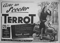 PUBLICITÉ DE PRESSE 1954 MISS MONDE 53 AVEC UN SCOOTER TERROT LA VIE EST BELLE