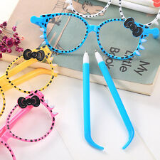 Cute Kids Cat Bowknot Glasses Frame Ball-point Pen Toy Student Supplies Hot Sale
