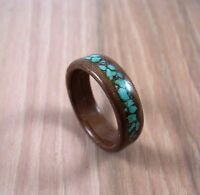 Walnut Bentwood Ring With Turquoise Inlay ~ Mens or Womens ~ Handmade To Order