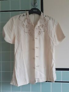 """1970s Vintage """"Peony"""" Ladies Chinese 100% Silk Hand Embroidered Blouse Ivory 36"""""""