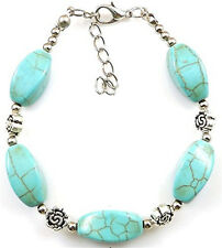 NEW Free shipping Tibet silver Pendant jade turquoise bead DIY bracelet S320