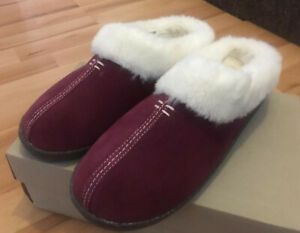 CLARKS LADIES HOME CLASSIC BURGU SUEDE WARMLINED MULE SLIPPERS SIZE UK 7 / 41