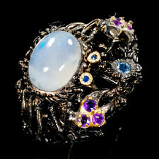 Vintage7ct+ Natural Moonstone 925 Sterling Silver Ring Size 6/R109277