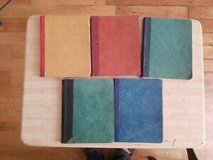 5 anciens cahiers manuscrit 1929 ,un de 1930 entièrement écrit renée bertholet.