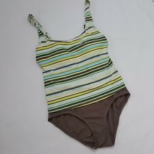 df3bf093703d9 Beach House Womens One-Piece Tankini Swim Bathing Suit Striped Taupe Size 10