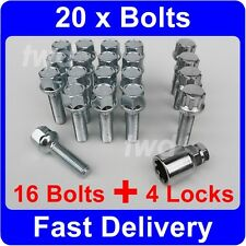20 x ALLOY WHEEL BOLTS & LOCKS (40mm LONG) MERCEDES BENZ CLK C208 C209 NUT [9K]