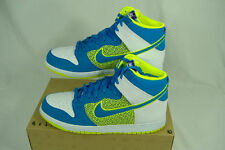 New Mens 10 NIKE Dunk High Hi Top Blue Fluoro Green Leather Shoes $85 317982-128
