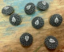 "Buttons #168M Silver Tone Black Dome 7/8""- 22.7mm Leaf 5 pcs"