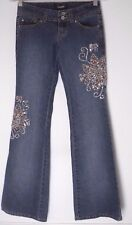 """Juniors 1 Angels Flare Jeans Embroidered Rhinestones sequin Floral  32"""" inseam"""