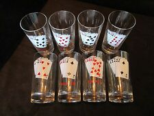"""Set 8 Glasses tumblers PLAYING CARD Suits Poker Party 5.75"""" 10 oz."""