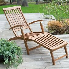 Steamer Deck Lounge Chair Outdoor Yard Deck Pool Wood Recliner Curved Furniture