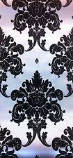 Exclusive Valencia Velvet Flock Black/Silver Damask Wallpaper (33002)