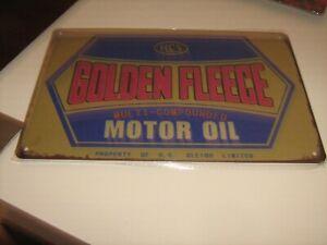 GOLDEN FLEECE MOTOR OIL  VINTAGE RETRO COLLECTABLE TIN SIGN