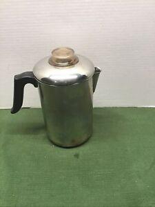 Vintage 1801 Revere Ware Copper Clad 8 Cup Coffee Pot