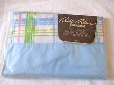 Bill Blass Springmaid Twin Flat Sheet Blue Pink Green Plaid Vintage 39x76 USA