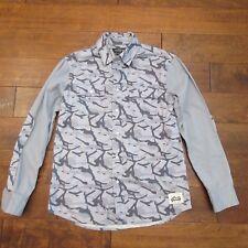 Grizzly Griptape Men's Gray Camo Long Sleeve Cotton Button Down Shirt Sz M