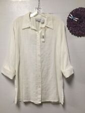 Ladies button blouse size large thin white 3/4 sleeves new Kim Rogers 167