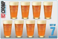 7 Personalized Custom Engraved Pint Glasses, Groomsman Gifts, Best Man Wedding