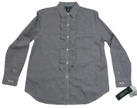 Ralph Lauren Womens America Navy & White Check Ruffled Long Sleeve Shirt L NWT