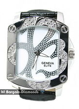 mens unisex big silver tone clubbing watch CZ ice out designer style Geneva