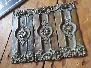 antique old Vintage copper art nouveau finger push door plate