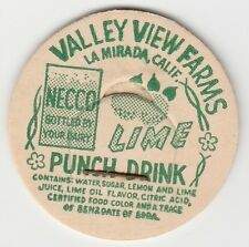 MILK BOTTLE CAP. VALLEY VIEW FARMS. LA MIRADA, CA. DAIRY