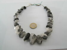 collana pietre dure quarzo tormalinato sfaccettato semigrezzo lunga cm. 50