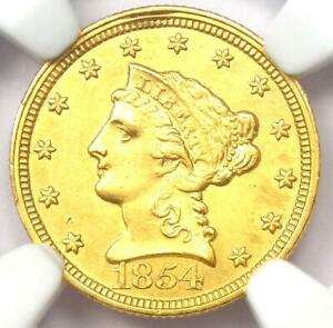 1854-C Liberty Gold Quarter Eagle $2.50 Coin - NGC Uncirculated Detail (UNC MS)