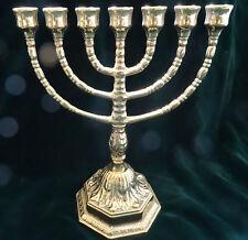 EBRAICO 7 BRACCI SUPPORTO CANDELA 100% in ottone Candelabro Ebraico Menorah 22cm