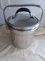 "Stainless Steel/Chrome Vintage Milk Glass Ice Bucket Heavy Duty COIL Handle 9.5"""