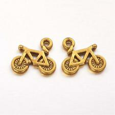 4 Bicycle Charms Antique Gold Tone Cycling Pendants Bike Findings 16mm