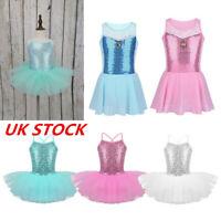 UK Girls Ballet Dance Dress Sequin Princess Fancy Costume Tutu Skirt Dancewear