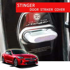 New Stinger Stainless Steel Door Striker Cover 4PC Black for Kia Stinger 17-18