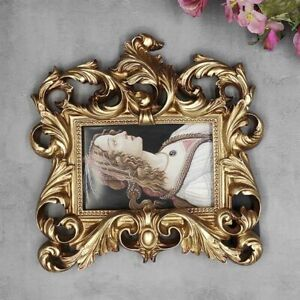 European Antique Square Resin Photo Frame Old Fashion Wall Mounted Gold Frames