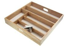 4 AND 6 COMPARTMENT WOODEN KITCHEN CUTLERY UTENSIL DRAWER TRAY STORAGE BOX