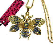 Fashion blue Betsey Johnson Crystal Butterfly Pendant Sweater chain Necklace