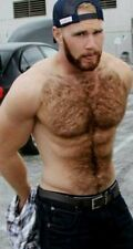 Shirtless Male Hairy Chest Abs Beefcake Muscular Bearded Hunk PHOTO 4X6 F1558