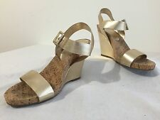 BCBGeneration Brandee Sandals Wedges Heels Gold Synthetic Leather Size 8.5B/38.5
