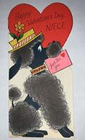 Vintage 1950's Rust Craft Valentine's Niece Greeting Card Dog Poodle