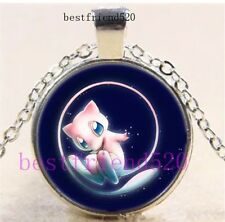 "Pokemon Mew Cabochon Pendant Necklace Silver 18"" Length 1"" Diameter US Seller"