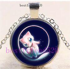 Pokemon Mew Photo Cabochon Glass Silver Chain Pendant Necklace US Seller