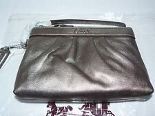 NEW Coach Pleated Leather Wristlet Silver/Bronze F-43431