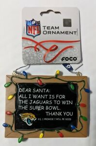 Jacksonville Jaguars Christmas Tree Ornament Chalkboard - All I want Superbowl