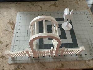 Dollhouse Miniature 1:12 scale White Arbor Trellis  w/Gate & Fence & Mail Box
